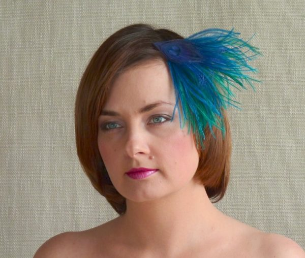 EVA feather fascinator by Rubina Millinery