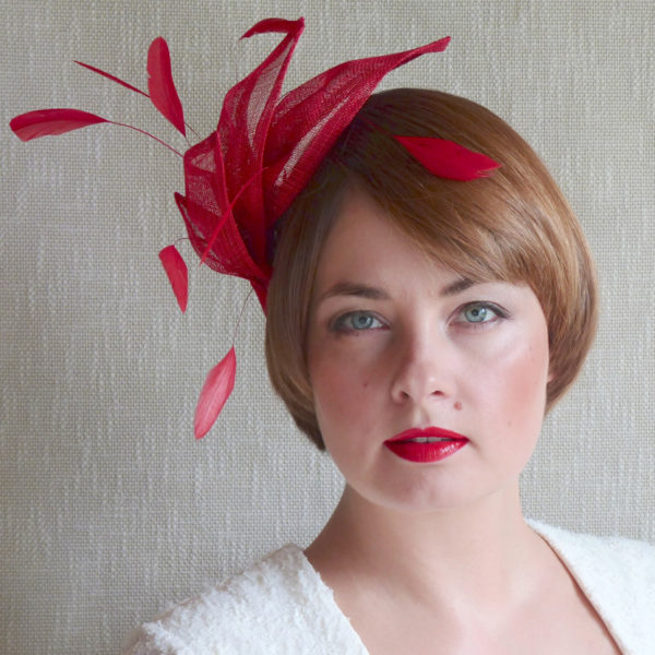 SANDRA red fascinator with feathers