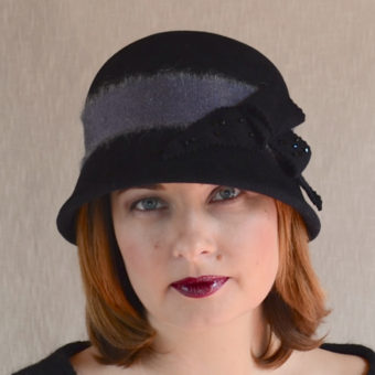 VELVET black cloche hat