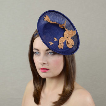 AURORA navy and copper saucer hat