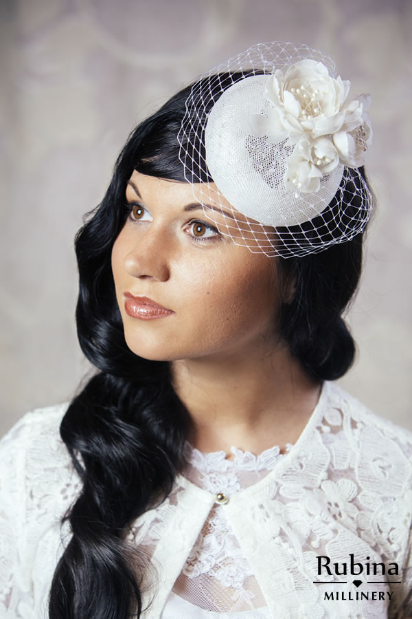 0382f445dd8e2 DANIELLE – Bridal Pillbox Hat with Silk Flowers and Birdcage veil – RUBINA  Millinery