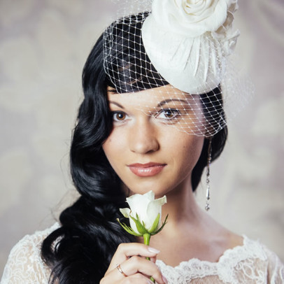 DOMINIQUE silk bridal pillbox hat with birdcage veil and roses