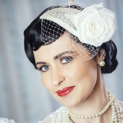 ELENA bridal fascinator with silk rose and birdcage veil