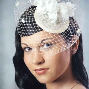 FRANCESCA bridal fascinator with silk flowers and birdcage veil