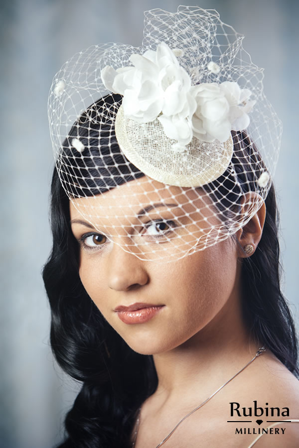 Excellent Francesca Bridal Fascinator With Silk Flowers And Birdcage Veil Hairstyle Inspiration Daily Dogsangcom