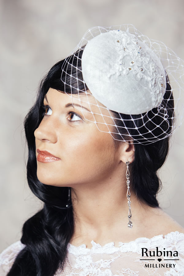 809a02ab25a83 RENEE – Bridal Pillbox Hat with Lace Detail and Birdcage veil – RUBINA  Millinery