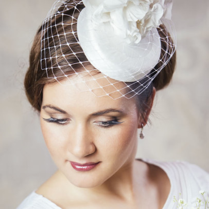 EMILY bridal pillbox hat with birdcage veil and silk flowers