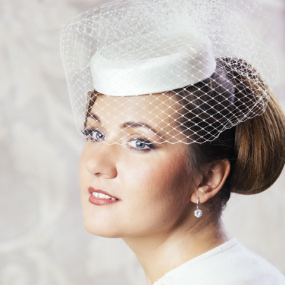 MATHILDA bridal pillbox hat with veil