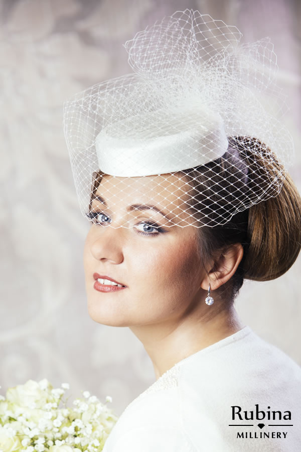 3c0daa1c86e65 MATHILDA – Silk Bridal Pillbox Hat with Birdcage Veil – RUBINA Millinery