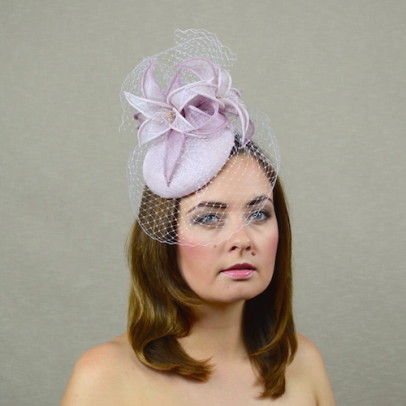 HEATHER – pillbox hat with birdcage veil and sinamay lilies