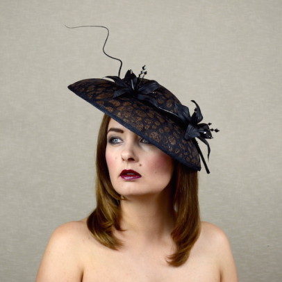 KEIRA – black and copper saucer hat