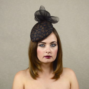 NOIR - black and copper teardrop hat with feather quill