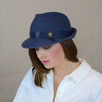 DAKOTA - denim blue felt fedora hat