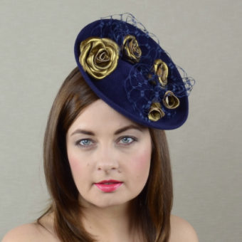 DEZIREE navy blue and gold percher hat