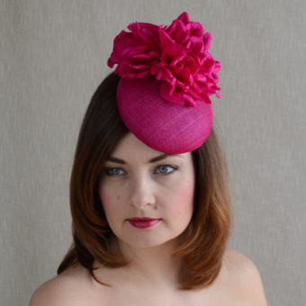 FLORA - hot pink pillbox hat with silk flower