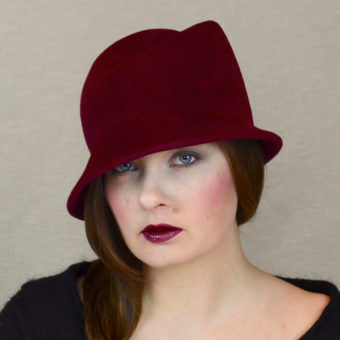 NINA red wine velour felt winter hat