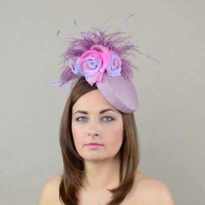 ARIANNA heather pillbox hat with silk roses