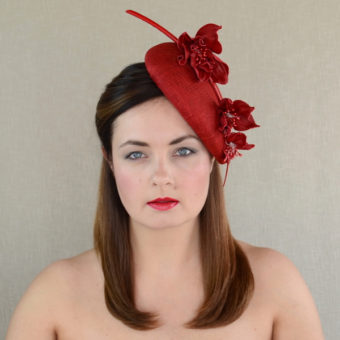 ANNIE red sinamay pillbox hat with leather flowers