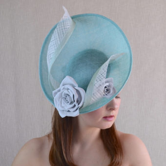 FLEUR aqua blue saucer hat fascinator with leather roses