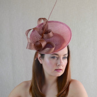 LEONA blush pink and copper saucer hat