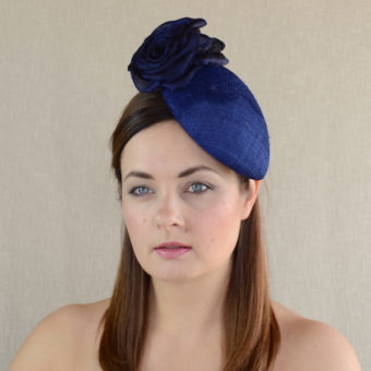 MELODY blue teardrop hat with silk rose