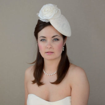 MELODY cream pillbox hat with rose