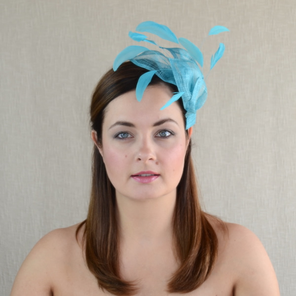 6ba8cd3b2b689 SANDRA – Turquoise Blue Fascinator with Feathers – RUBINA Millinery