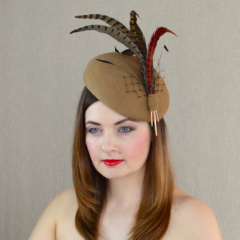 ARTEMIS camel felt pillbox hat