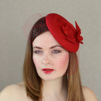 AUTUMN red felt porkpie hat with veil