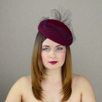 DARLA burgundy pillbox hat with veil