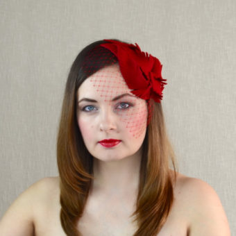 NICOLA red felt fascinator with birdcage veil
