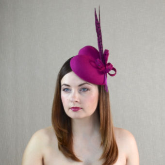 AMBER pink felt heart pillbox hat with feathers