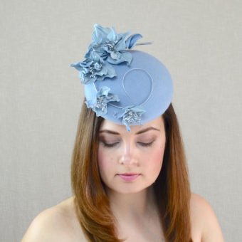AVA soft blue pillbox hat with leather flowers
