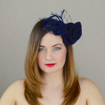 HARLEY navy blue velour felt fascinator with roses