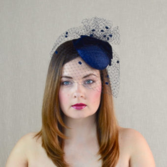 MARIANNA navy blue pillbox hat with birdcage veil