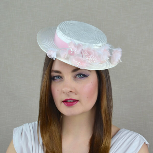 OPHELIE ivory straw boater hat with pastel pink flowers