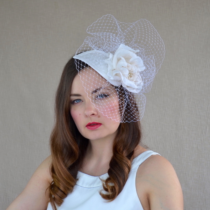 cf061b8f979f4 LAURA – Dupioni Silk Bridal Fascinator with Birdcage Veil – RUBINA ...