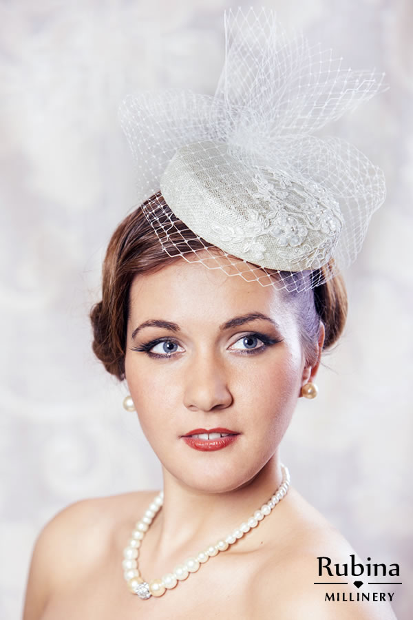 LILLY – Bridal Pillbox Hat with Birdcage Veil – RUBINA Millinery bbf0603091d