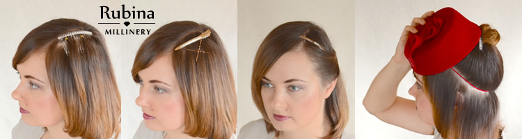How to fix a fascinator or cocktail hat – RUBINA Millinery 04f5e235b57