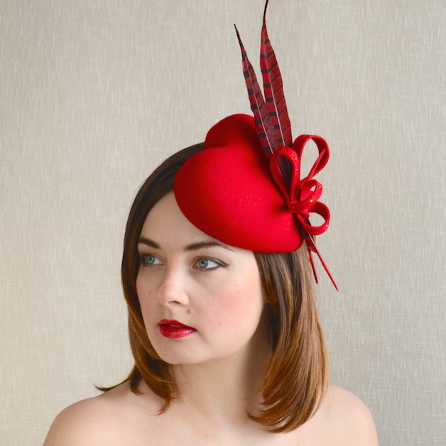AMBER – Red Felt Heart Fascinator with Feathers – RUBINA Millinery 61a65276731