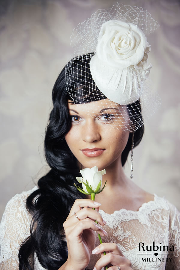 DOMINIQUE – Silk Bridal Pillbox Hat with Roses and Birdcage Veil ... 6a324f3090b