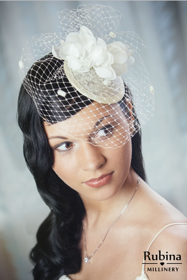 02798a7878298 FRANCESCA – Bridal Fascinator with Silk Flowers and Birdcage veil ...