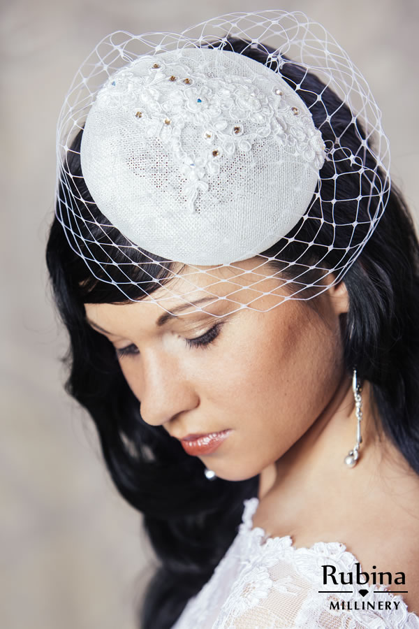 9b16c2c22 RENEE – Bridal Pillbox Hat with Lace Detail and Birdcage veil ...
