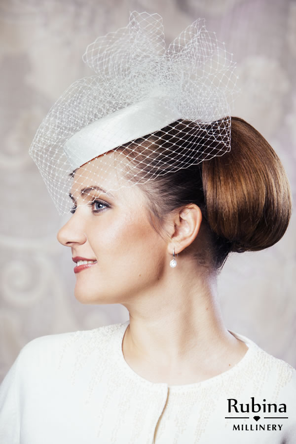 MATHILDA – Silk Bridal Pillbox Hat with Birdcage Veil – RUBINA Millinery 8711592a5f2