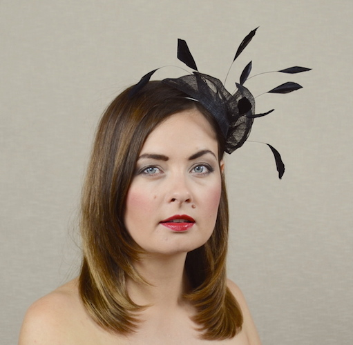943b038830956 SANDRA - Black Fascinator with Feathers