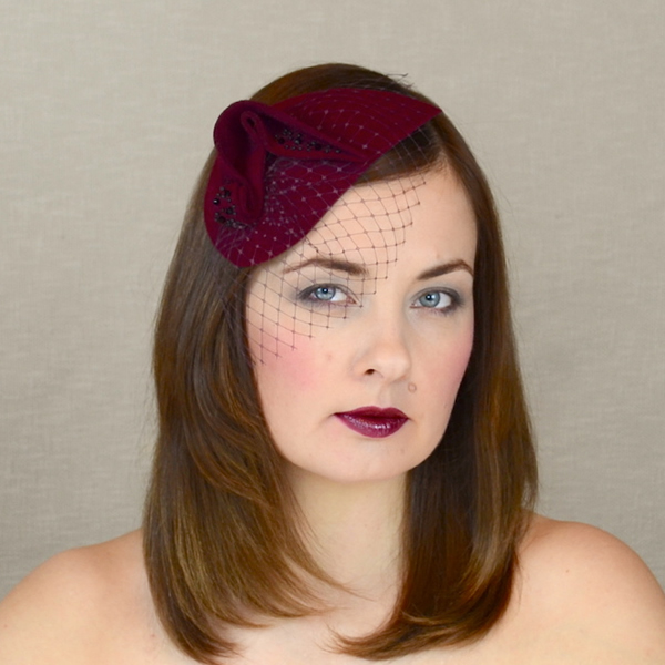 e51a6e937f74e For Veronika – PARIS – Burgundy Felt Teardrop Fascinator with Birdcage Veil
