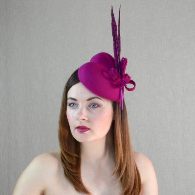 AMBER – Pink Felt Heart Shaped Hat with Feathers – RUBINA Millinery 045dcdb0b6e