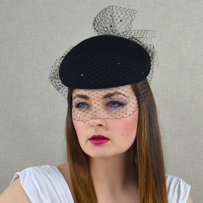 DARLA – Black Felt Pillbox Hat with Birdcage Veil – RUBINA Millinery 9a270e54d47f
