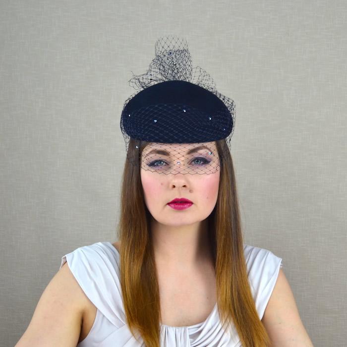 dc7704df41ce0 DARLA – Navy Blue Felt Pillbox Hat with Birdcage Veil – RUBINA Millinery