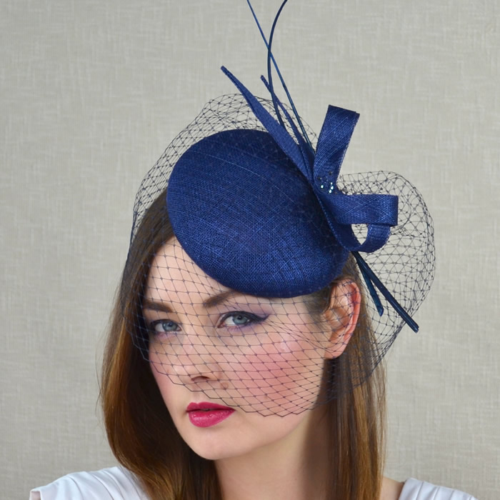 d2c87c65fcb9d ISOLDE - Navy Blue Pillbox Hat with Birdcage Veil and Quills